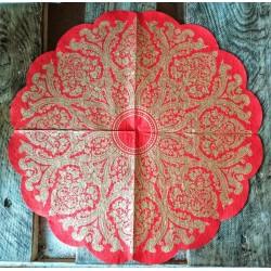 Салфетка Золотой орнамент на красном