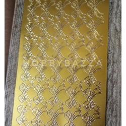 Наклейка контурная Бантики золото