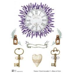 Декупажная карта Clock lavender 2