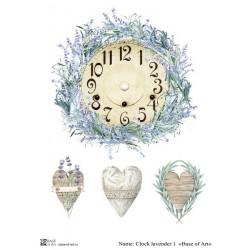 Декупажная карта Clock lavender 1