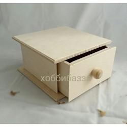 Деревянная заготовка Шкатулка с выдвижным ящиком 17*17 см