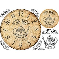 Декупажная карта Циферблат Чайное время