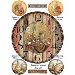 Декупажная карта Часы кантри