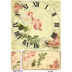 рисовая бумага Винтажный циферблат с розами