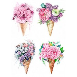 Декупажная карта А4 Цветочное Мороженое