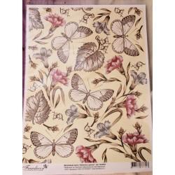Декупажная карта Бабочки в цветах
