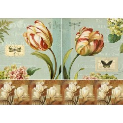 Декупажная карта Винтажные тюльпаны