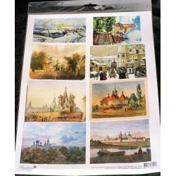 Декупажная карта Православные храмы в живописи №2