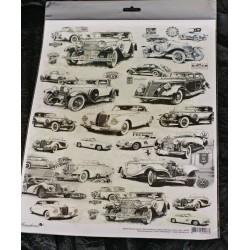 Декупажная карта Авто в черно-белом стиле