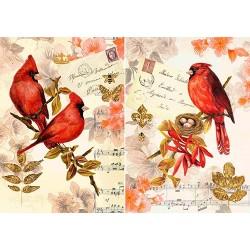 Декупажная карта Красные птицы
