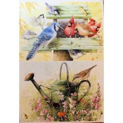 Декупажная карта Птицы в саду №2