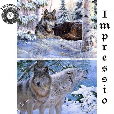 декупажная карта Волки