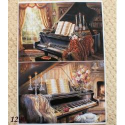 Декупажная карта Старый рояль