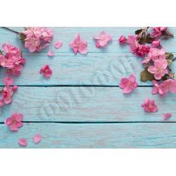 Фотофон Розовые цветы на досках