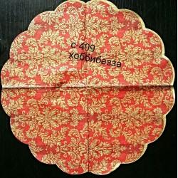 Салфетка Красный вензель круг