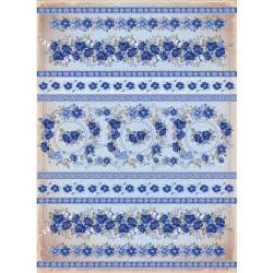 Рисовая бумага Синие цветы полоски