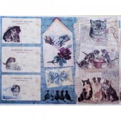 Рисовая бумага Открытки с котиками
