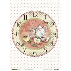 Рисовая бумага Часы. Чаепитие