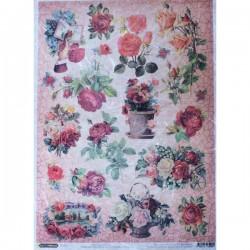 Рисовая бумага Кракелюровые розы