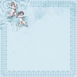 """Бумага для скрапбукинга """"Малыш и малышка"""" ангелы на голубом"""
