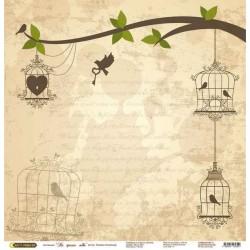 """Бумага для скрапбукинга """"На крыльях любви"""" дерево в желтом"""
