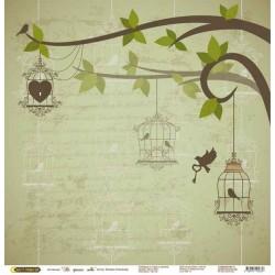 """бумага для скрапбукинга """"На крыльях любви"""" дерево в зеленом"""