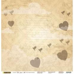 """Бумага для скрапбукинга """"На крыльях любви"""" сердца в желтом"""