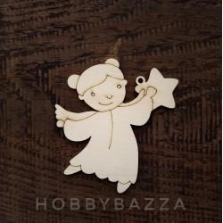 Деревянный ангелочек со звездой, заготовка для росписи и декупажа