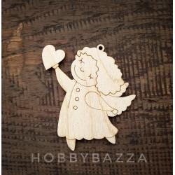 Деревянный ангелочек с сердцем, заготовка для росписи и декупажа