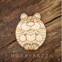 Заготовка для деревянного значка / брошки Кот с сердцем, под роспись