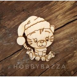 Заготовка для деревянного значка / брошки Тигр в шапке под роспись
