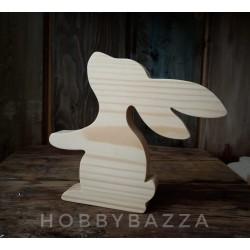 Деревянный заяц 13 см с лапкой из массива сосны