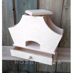 Деревянный Чайный домик с полочками и ящиком