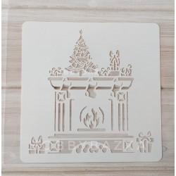 Трафарет Новогодний камин