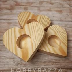 Деревянный подсвечник Сердце ( сосна) , купить в Москве