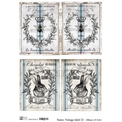 Декупажная карта Base of art Vintage label 32, купить