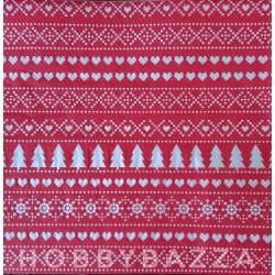 Салфетка для декупажа Рождественский принт (красный)