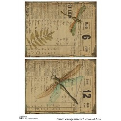 Декупажная карта Vintage insects 7 (Base of art)