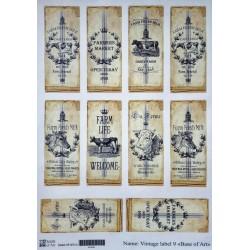 Декупажная карта Vintage label 9