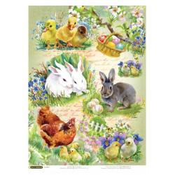 Рисовая бумага Цыплята и кролики