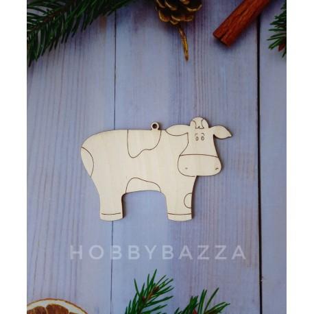 Деревянная подвеска Корова