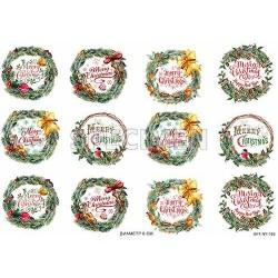 Декупажная карта Рождественские надписи